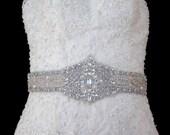Bridal Dress Gown Jeweled Beaded Crystal Embellishment Sash Trim