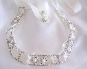 Vintage Inspired Rhinestone Pearls and Ribbon Bridal Headband Headpiece