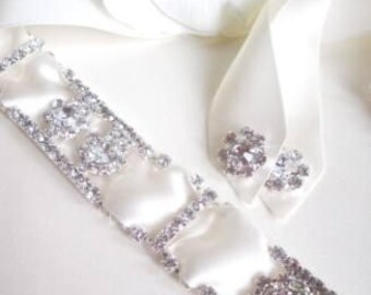 Vintage Inspired Rhinestone Crystals and Ribbon Bridal Headband Headpiece Halo