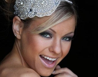 wedding bridal oversized tiara headpiece headdress beaded with crystals