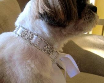 Dog pet rhinestone collar with ribbon wedding