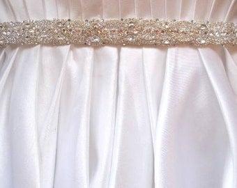 Wedding Bridal Gown Dress Jeweled Beaded Crystal Belt Sash