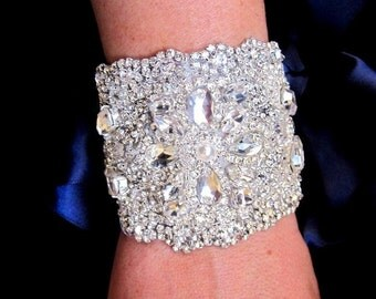 Wedding Bridal Crystal Bracelet Cuff Bangle Ribbon Closure