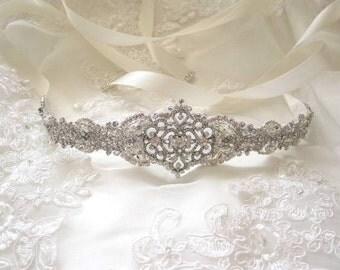 Tanya Wedding sash,bridal belt,rhinestone sash,bridal ribbon sash,Bridal Crystal sash,bridal accessories, vintage, art deco