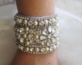Serena Wedding Bridal Crystal Bracelet Beaded Cuff Swarovski Pearls
