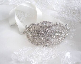 Bridal Bouquet Jewelry Crystal Beaded Embellishment Wrap Jeweled Flowers