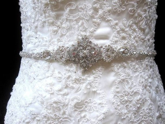 Bridal Wedding Dress Crystal Beaded Sash Belt