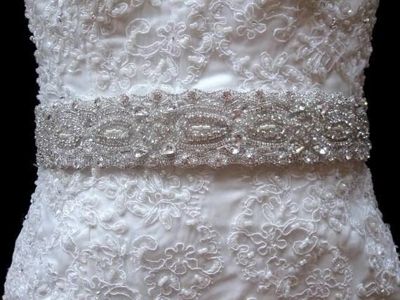 Bridal wedding dress gown crystal beaded sash belt