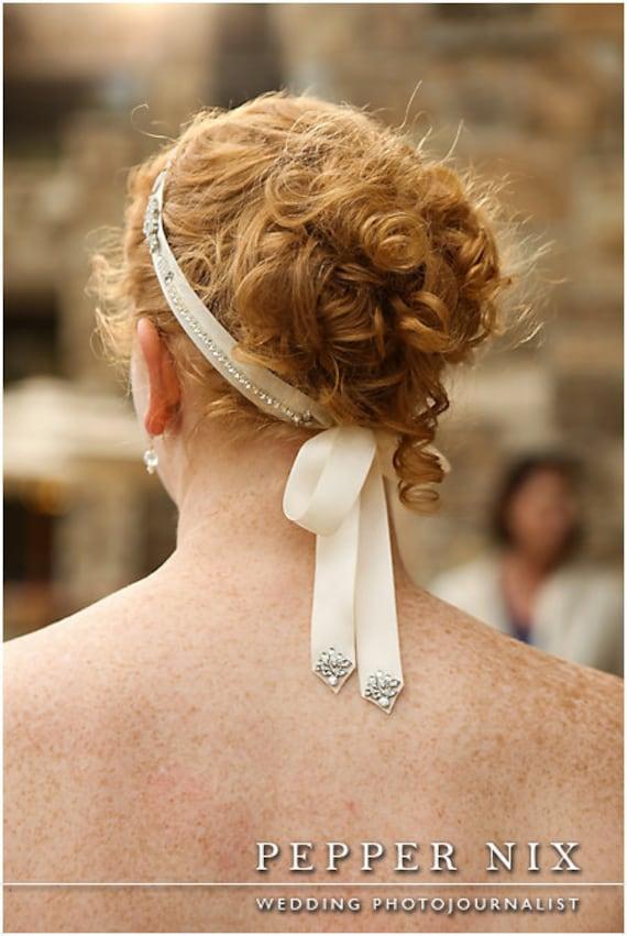 Bridal Hair Crystals Rhinesotne Headband Headpiece Shiffon and Ribbon Gown Sash