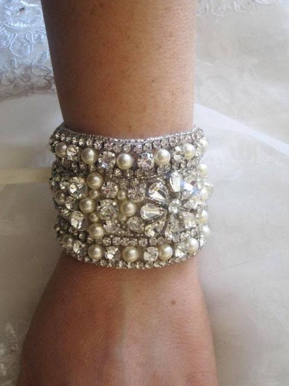 Serena Wedding Bridal Crystal Bracelet Beaded Cuff Swarovski Pearls