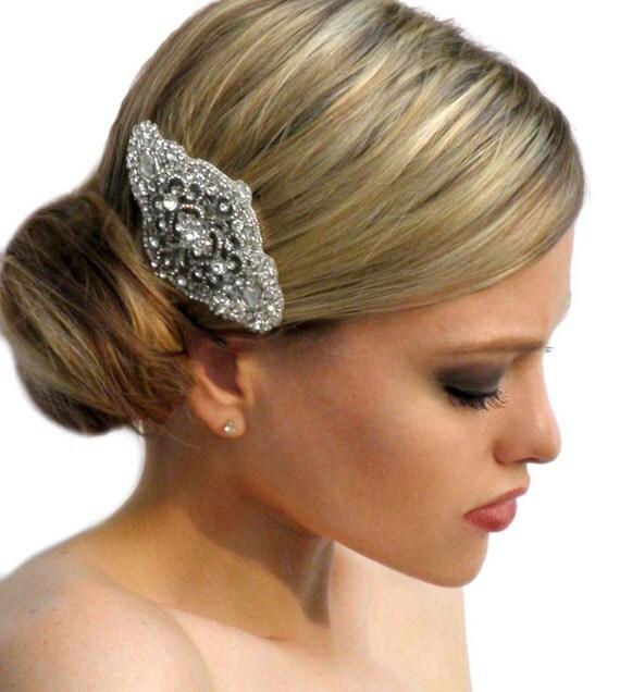 Art Deco Vintage Inspired Bridal Crystal Hair Comb Brooch