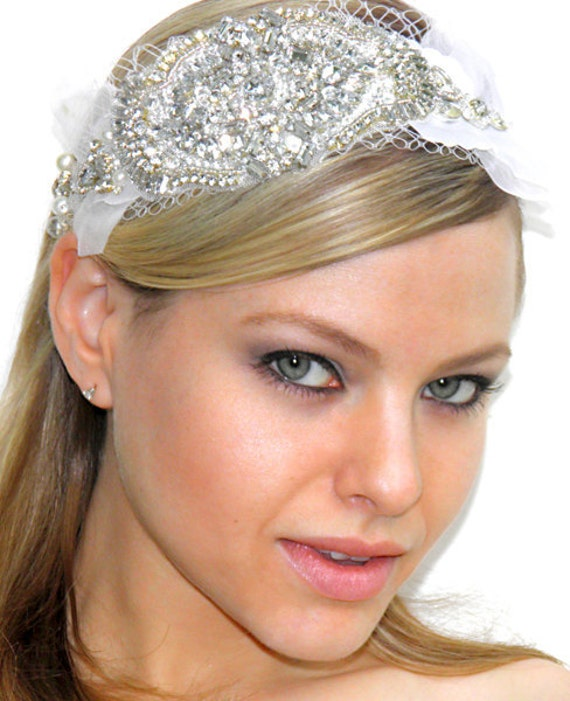 Bridal oversized headpiece head dress crystals over tulle