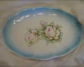 RESERVED - Treasury Item - Vintage Gorgeous Faded Blue Oval Platter Transferware - Roses - Scalloped Edges - Shabby Chic