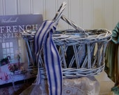 Whitewashed Wicker Basket - Zinc Cans - Vintage French Ticking