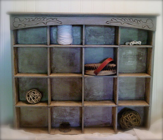 Upcycled Wall Curio - Wood Cubby - French Country Chic - Chalk Paint and Stain for Vintage Style