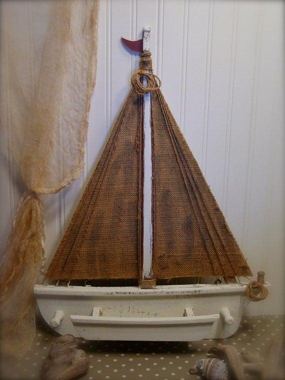 Wood Sailboat Wall Decor : Burlap and wood sailboat whitewashed wall by edencovetreasures