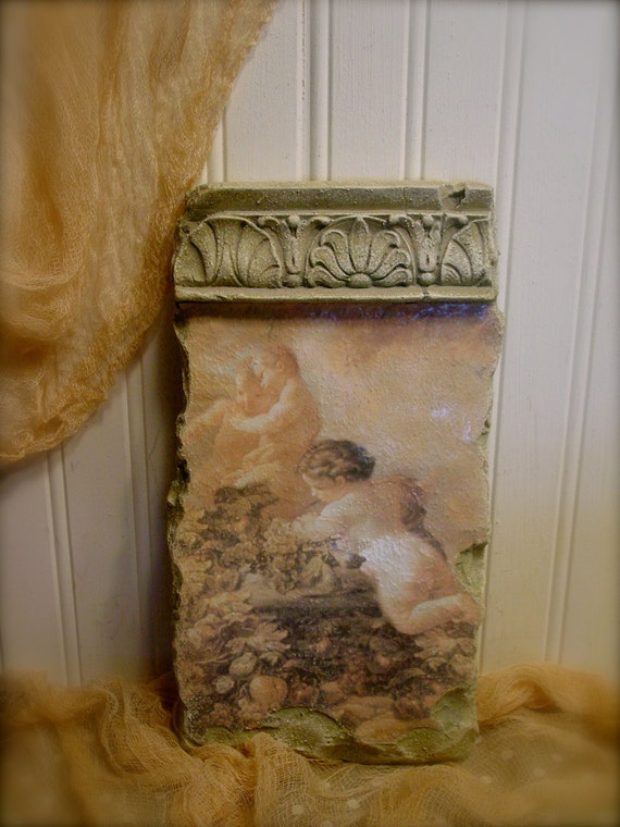 RESERVED for Pam...Vintage Style Cherub and Angel Wall Plaque  - Gorgeous French or Tuscan Inspired