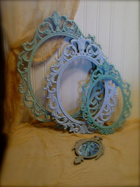 RESERVED - Vintage Ornate Metal Frames - Blue Collection - French Inspired with Annie Sloan Chalk Paint