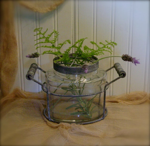 Vintage Style Glass Vase - Attached Frog Lid - Distressed Metal and Wood Handles