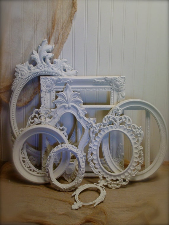 Upcycled Large  Frame Collection -  Vintage Ornate French Inspired - Annie Sloan Chalk Paint Old White - Clear Waxed