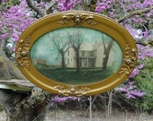 Antique Farmhouse Picture in Oval Gold Frame with Convex Glass