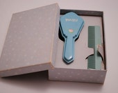 1940s Celluloid Blue Baby Brush Set in Box