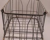 Vintage Milk Crate Industrial Metal Wire