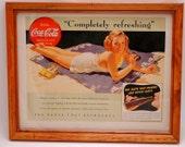 Coca Cola Ad Vintage Framed Pretty Blond