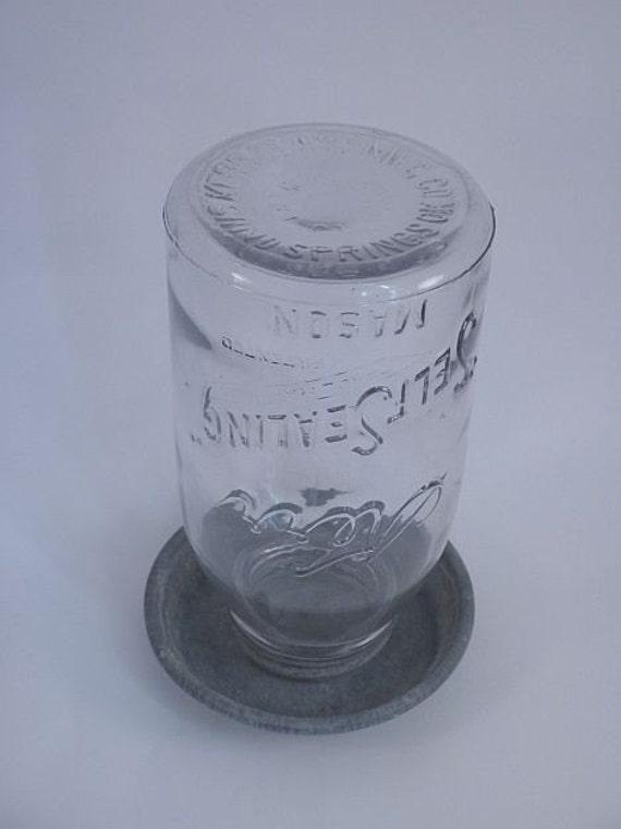 Antique Chicken Waterer with Rare Kerr Self Sealing Mason Jar