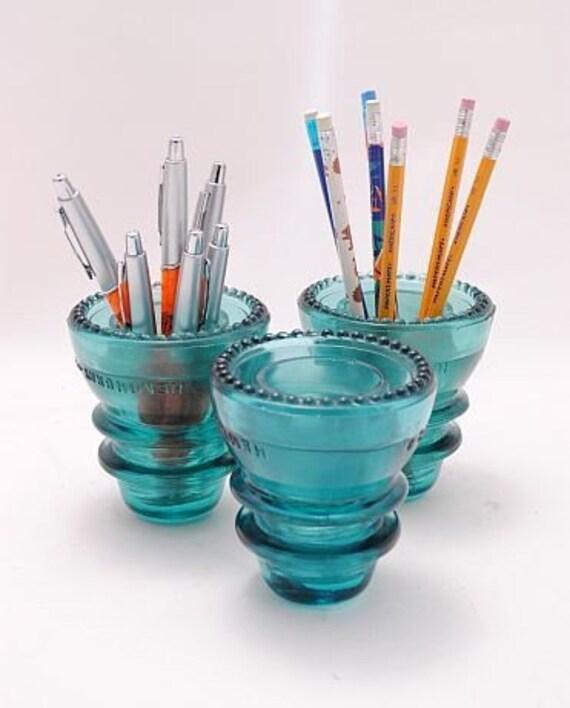 Hemingray 42 Bluegreen Glass Insulators (Set of 3)