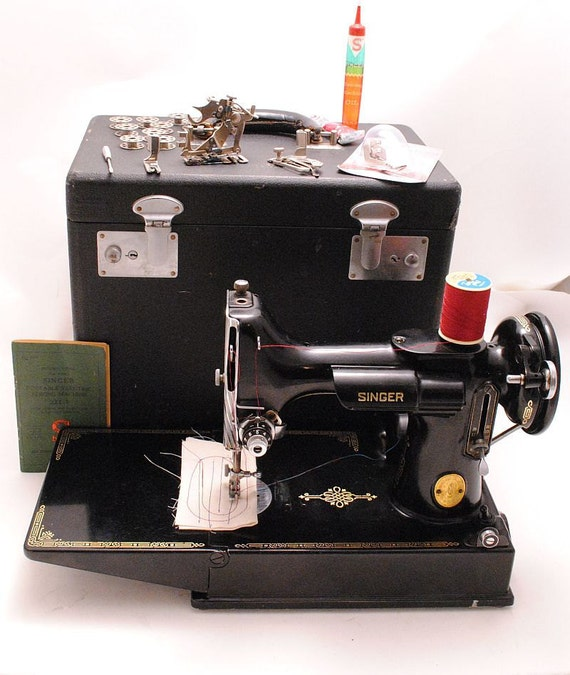 Singer Featherweight Sewing Machine 1940s 221-1 Portable with Case - Professionally Serviced