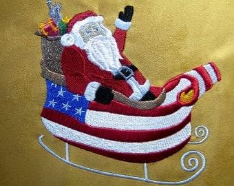 Americana Santa Embroidered Quilt Block