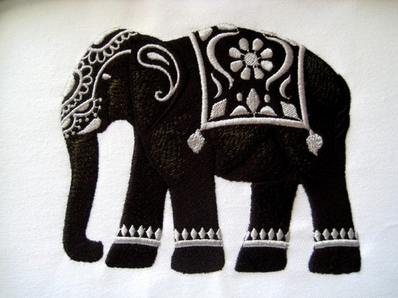 Tribal Elephant Embroidered Quilt Block