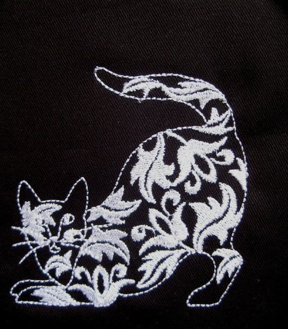 4 Damask Cats Embroidered Fabric Quilt Blocks