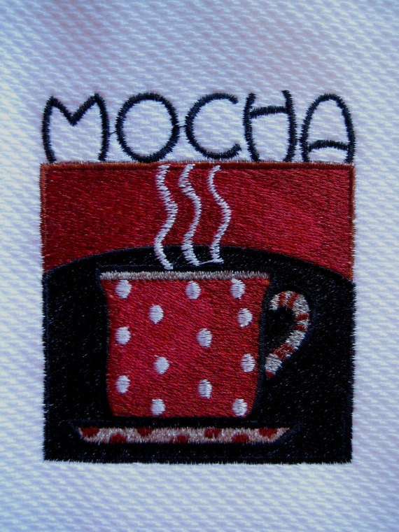 Coffee Mocha Kitchen Embroidered Hand Towel