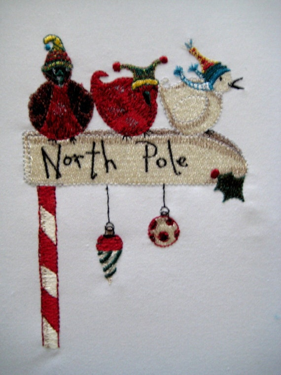 North Pole Birds Embroidered Quilt Block
