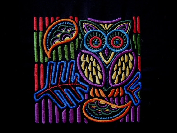 Mola Owl Embroidered Quilt Fabric  Block