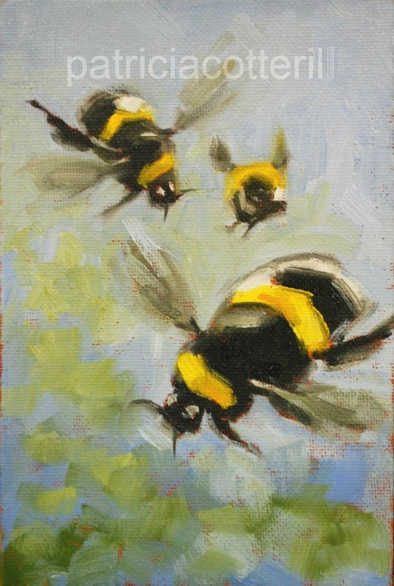 Busy Bees. Original oil painting by Patricia Cotterill
