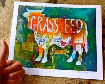 SALE - Grass Fed Orange and Green Print 8x10