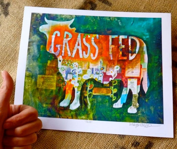 SALE - Grass Fed Orange and Green Print 8x10