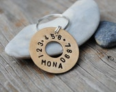 pet ID tag / / Mona style dog or cat brass circle washer pet ID tag
