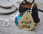 I Pick You Necklace - Custom Pick Color / / brass guitar pick hand stamped with a blue marble Dunlop guitar pick