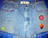 Sale / Groovie Shorts / Vintage Cut Offs / Jean Shorts / Hand Embroidered / Embellished / Hippie / Boho