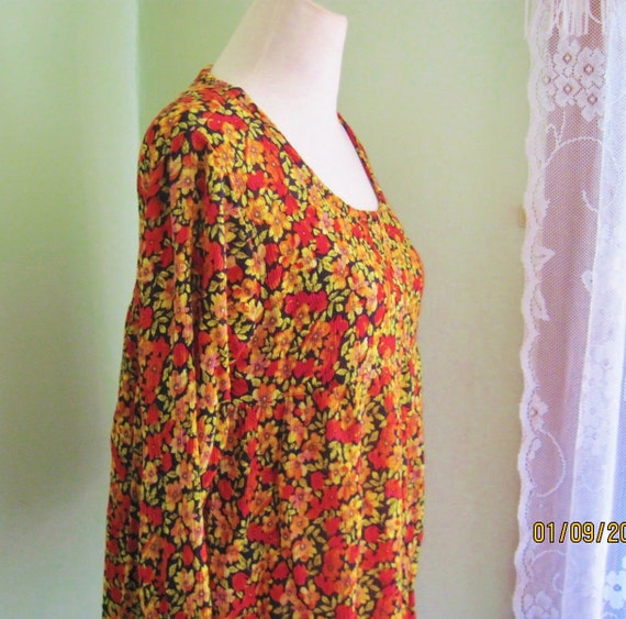 Vintage 1980's Colors of Autumn Blouse/Flowered Empire Hippie Blouse/Bell Sleeves/Size Medium to Large