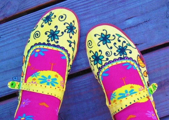 Sweet MaryJanes/Handpainted Canvas Shoes/House Slippers/Hippie/Boho/Size 8 to 9