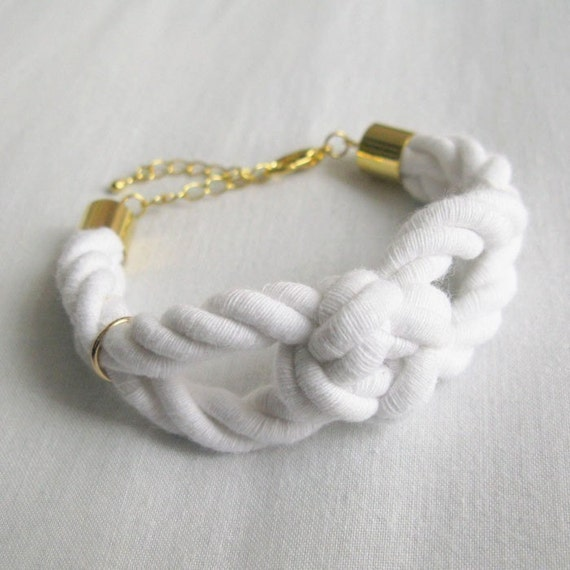 sailor knot bracelet in white and gold