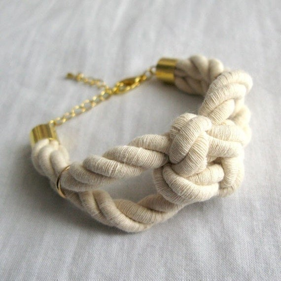 sailor knot bracelet in natural and gold