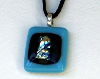 Blue jewelry, necklace pendant  with dichroic glass
