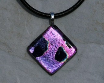 Necklace in Pink and Black Glass Christmas Gift