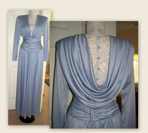 Vintage 80s draped ruched evening gown with original tags....illuminated blue